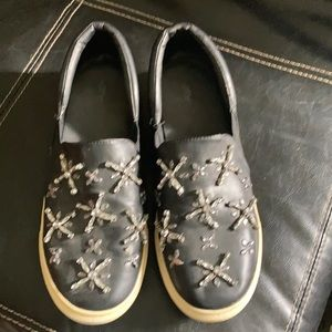 Zara Size 8 Black shoes with clear bead accents